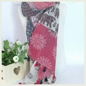 Pañuelo estampado  marino y rosa