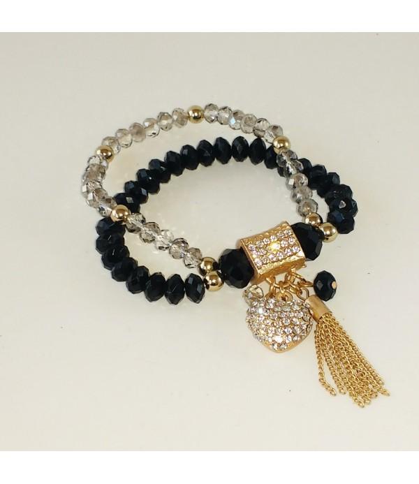 92bc91505f61 Pulsera elástica doble con strass- Comprar pulseras de moda online