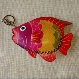 Llavero monedero piel pez colores