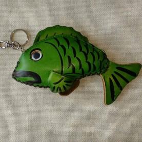 Llavero monedero piel Fish verde