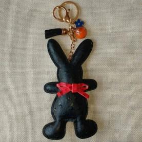 Llavero  Cuero Negro Rabbit