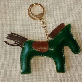 Llavero Cuero Verde Horse