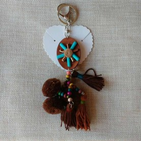 Leather small dog key ring