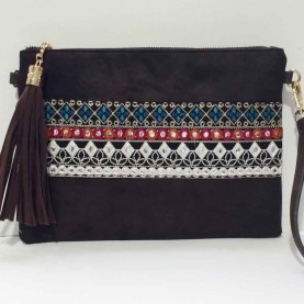 Black hand bag with Embroidery