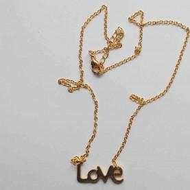 Collar corto acero dorado love