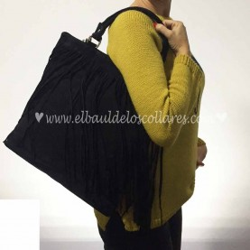 Leather Black Fringy Bag