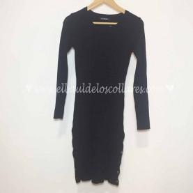 Vestido Negro Canalé