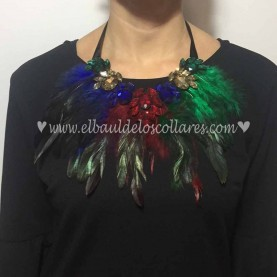 Collar Plumas Multicolor Red