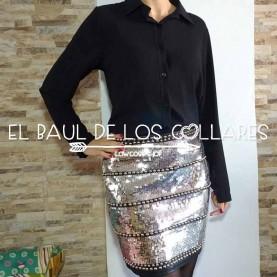 Falda Cuero con Lentejuelas y Tachuelas