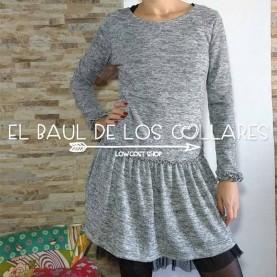 Vestido mujer gris con tul