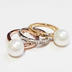 Set 3 anillos Elegance Perla (Talla 17)