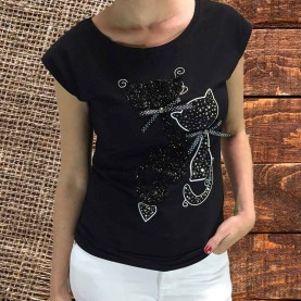 camiseta gatos strass