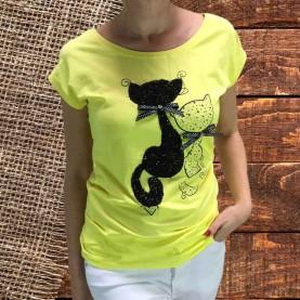 camiseta gatos strass amarilla
