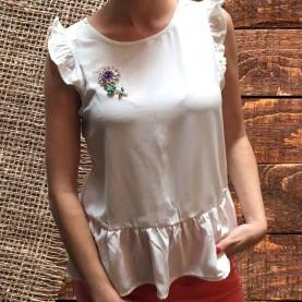 top blanco flor