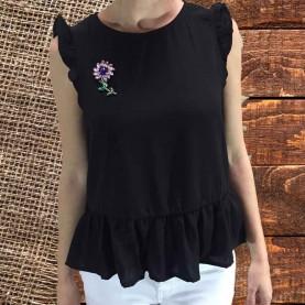 top negro flor
