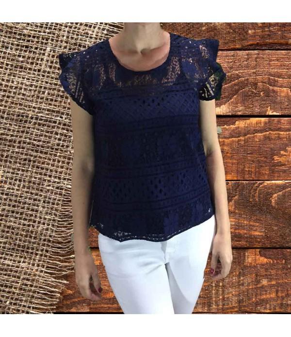 4a54cc682e Navy blue women lace top