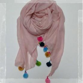 Pañuelo borlas rosa palo