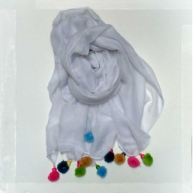 Pañuelo borlas blanco
