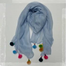 Pañuelo borlas azul
