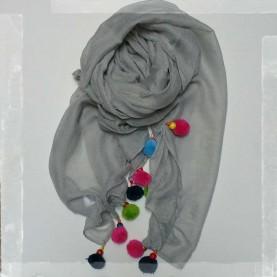 Pañuelo borlas gris