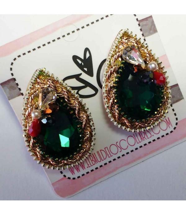 Pendientes de cristal verdes