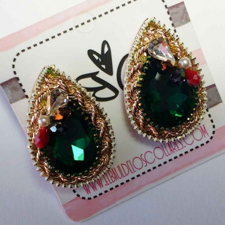 Pendientes Gota cristal Verdes