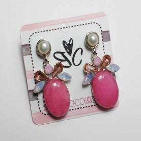Pendientes piedras naturales rosa Tamara