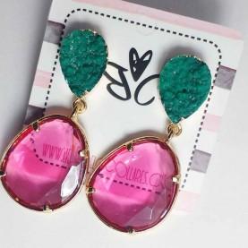 pendientes fiesta rosa y verde