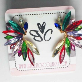 Pendientes Multicolor Semilargos CV Cristal Mar