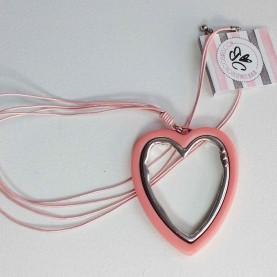 Collar Largo  Corazón Rosa