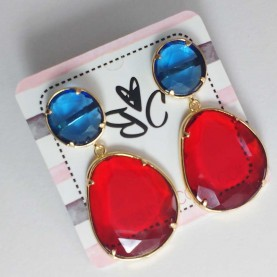 Earrings Ninfa red and blue