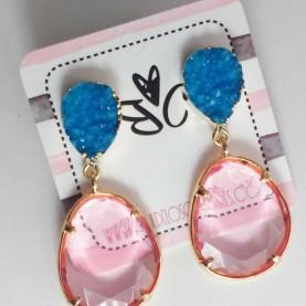 Pendientes Ninfa Stone azul y rosa