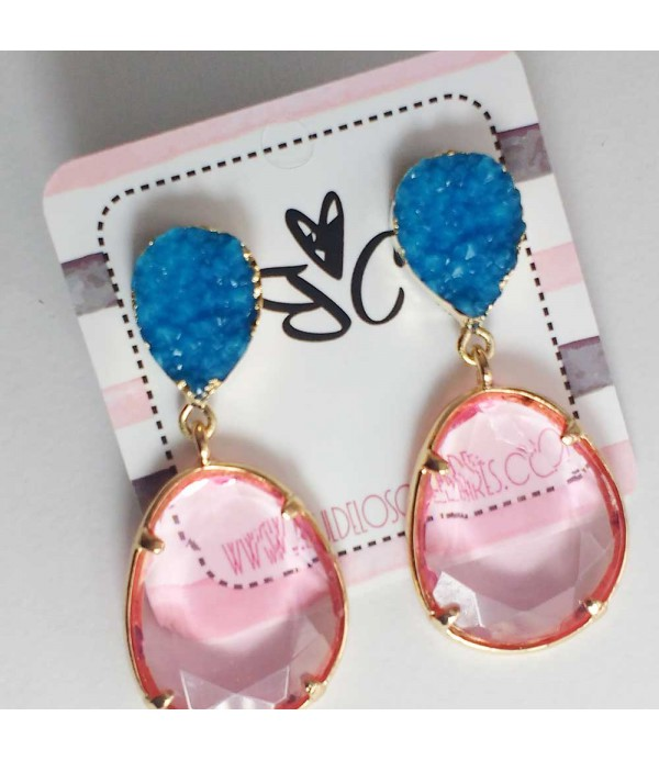 58d749302ac7 Pendientes combinados en rosa y azul