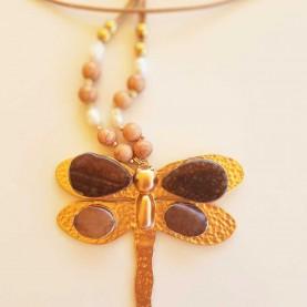 Collar libélula dorada 10200
