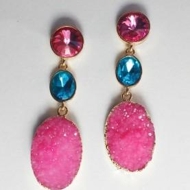 pendientes fiesta rosa y azul