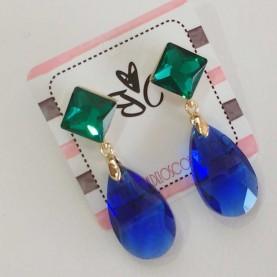 Pendientes de cristal azules y verdes Alma