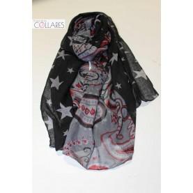 Pañuelo combinado negro y gris