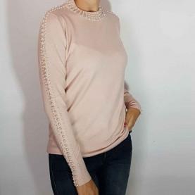 Jersey rosa Punto con perlas