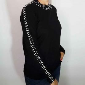Jersey negro Punto con perlas