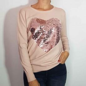 Jersey de Punto rosa con lentejuelas