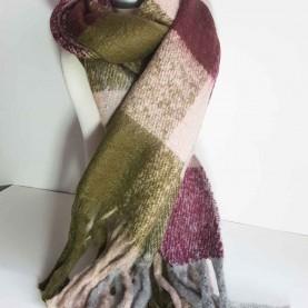 Pañuelo XL de lana a cuadros Berenjena