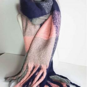 Pañuelo XL de lana a cuadros Marino