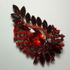 Broche de cristal rojo