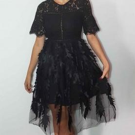 Vestido encaje y tul Negro Sanya