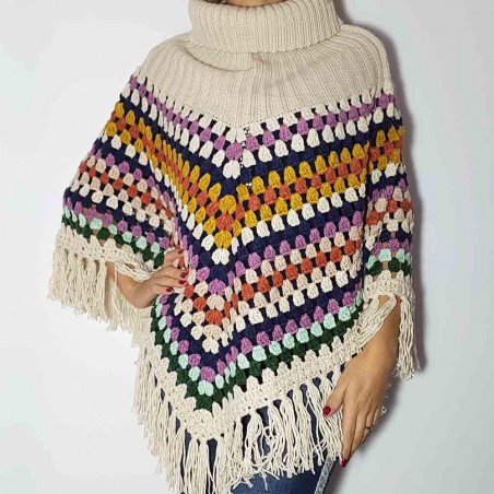 Poncho Multicolor Con Flecos Happy