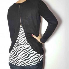 Women Zebra sweater Navy Blue