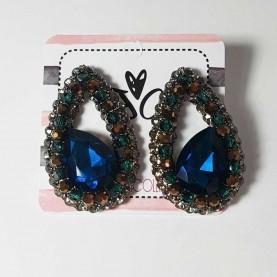 Pendientes cristal Azul Brillantes