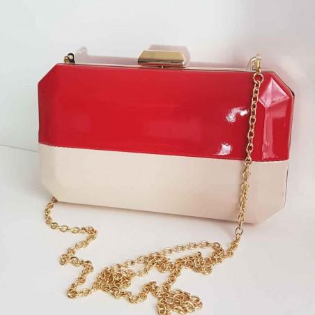 Bolso de fiesta rojo y beige