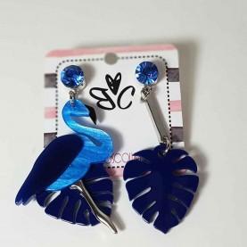 Pendientes Flamingo Azul