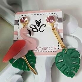 Pendientes Flamingo Verde y rosa